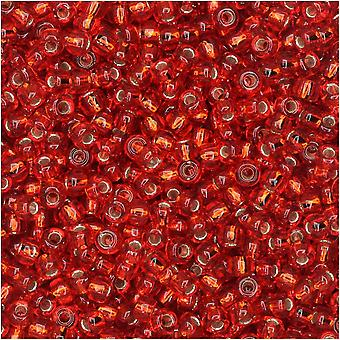 Miyuki Perlas de semillas redondas, tamaño 11/0, tubo de 8.5 gramos, #10 forrado de plata roja transparente