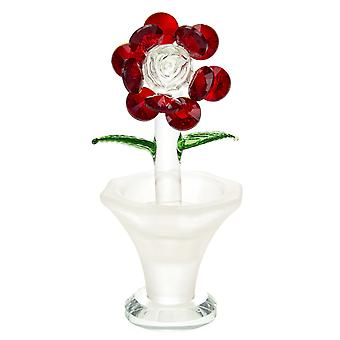 Designer Single Deep Red Floral Crystal Glass Ornament with Small Green Leaves