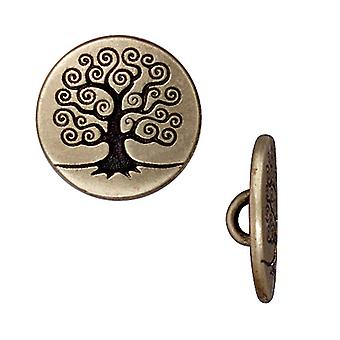 TierraCast Brass Oxide Finish Pewter Tree Of Life Button 15.5mm (2)