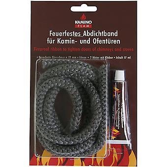 Glasstrickschnur 333212, feuerfestes Abdichtband mit Kleber zur Befestigung, Band für Kamin- und