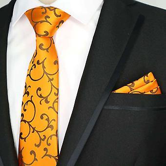 Bright orange & brown swirl tie & pocket square set