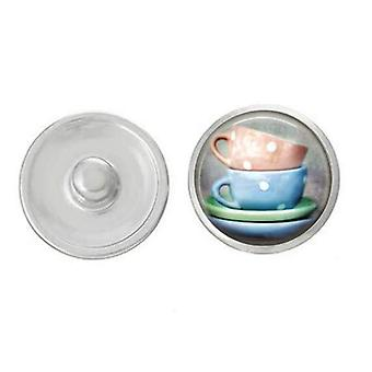Tea Cup - Blue And Peach Teacups Snap - Pair With Our Base Pieces -