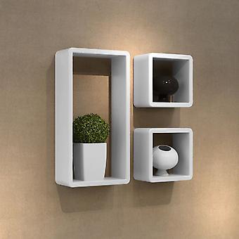 Decoratieve kubus plank wandplank (set van 3) ronde hoek wit