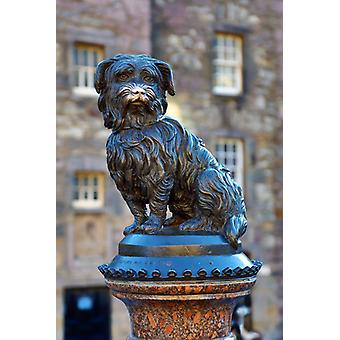 Statue of Greyfriars Bobby on Candlemaker Row, Edinburgh, Scotland. Large Framed Photo. Statue of.
