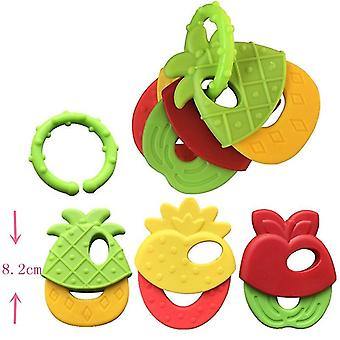 Baby Teether Legetøj Frugt Style Soft Rubber Rasle Nyfødte Tygger Food Grade Silikone Teethers Infant