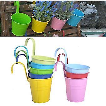 8 Metal Iron Flower Pot Vase Hanging Balcony Garden Planter Home Decor