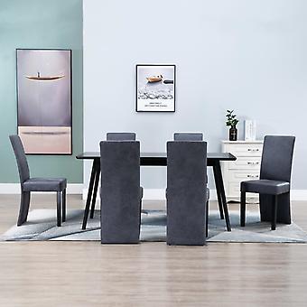 vidaXL כיסאות אוכל 6 pcs. מראה זמש אפור