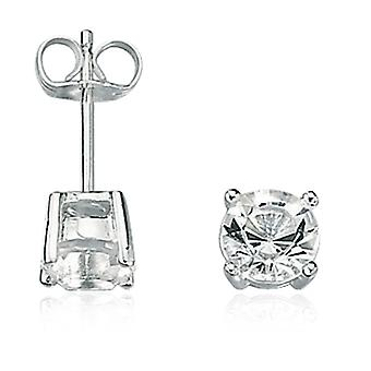 Fred Bennett Sterling Silver Mens Clear Crystal Stud