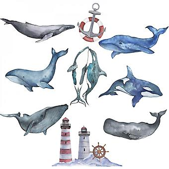 Hand Painted Whale Wall Sticker Decal (size:91cm X 88cm)