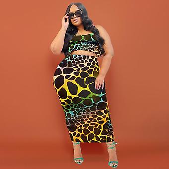Plus koko kaksiosainen puku leopardi print laiha tinki muoti rento setti