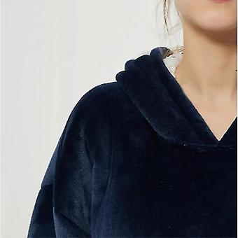 Lazy Blanket Hooded Blanket Sweatshirt Wear-resistant Blanket Men And Women Robe(Navy)