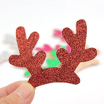 20pcs Glitter Christmas Antlers Shiny Padded Appliques For Clothes Craft Sewing Supplies Diy Hair Clip Accessories