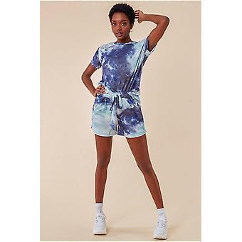 Cosmochic Tie-dye Oversized T-shirt & Short Set - Blue