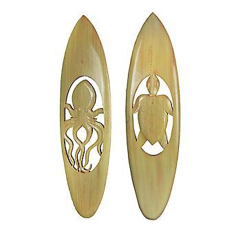 Set van 2 handgesneden uitgesneden houten surfplank wandkleden 32 inch - octopus en zeeschildpad