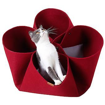 Macska alom Kreatív Szirom Virág Macska alom Eredeti design Négy évszak macska ágy Kisállat Cades Változó funkció Macska alagút (piros) -