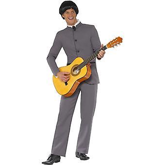 Icônico traje Fab quatro cinza com jaqueta e calça tamanho L