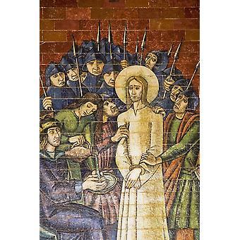 Religiöse Szene gemalt auf den keramischen Wandfliesen auf der Basilika Fatima Portugal Poster Print von Perry Mastrovito Design Pics