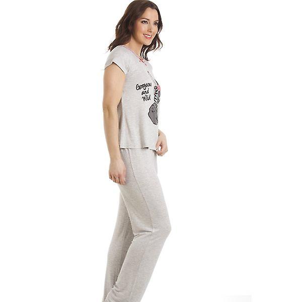 Camille Grau Kurzarm Zebra Motiv in voller Länge Pyjama
