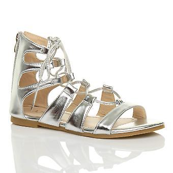 Ajvani naisten tasainen solmia kääri ympärille strappy sandaalit kenkä ylität