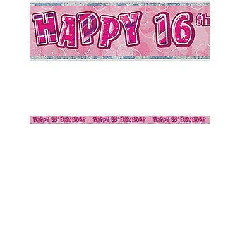 Bannière anniversaire Glitz rose 16thanniversaire prisme