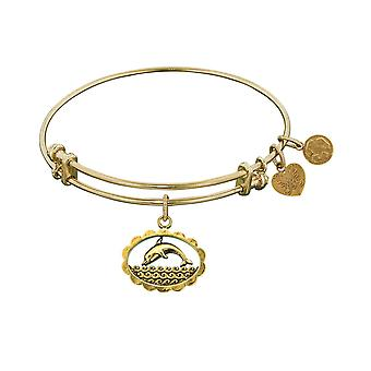 Smooth Finish Brass Dolphin Angelica Bracelet, 7.25