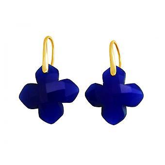 Gemshine Damen Ohrringe 925 Silber Vergoldet Chalcedon Blau GEM 2,5 cm