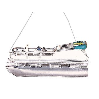 Fun Fishing Pontoon Boat Christmas Ornament