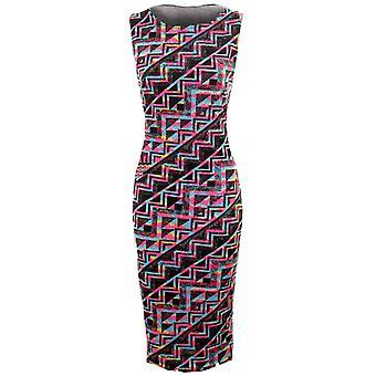 Midi Bodycon vestido señoras Celeb leopardo Floral Azteca Splash verano mujer