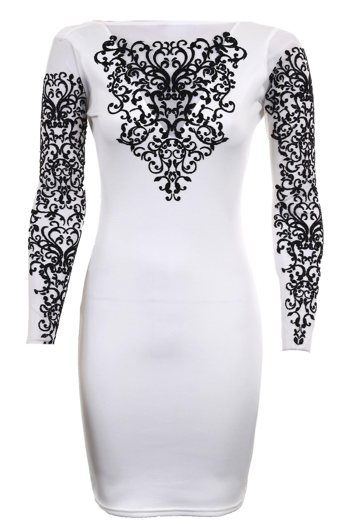 Ladies Long Sleeve Mesh Insert Low Back Glitter Beaded Women's Bodycon Dress
