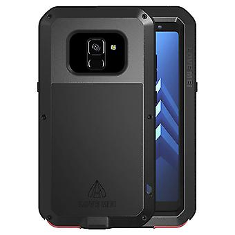 Love Mei powerful hybrid shockproof case Galaxy A8, screen protector – Black