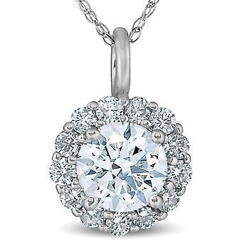 1 Ct Halo Diamond Pendant Necklace 18