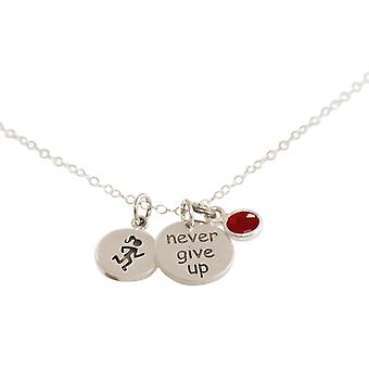 Gemshine Runner cadeia-nunca desista 925 prata, banhado a ouro, rosa jogging Ruby