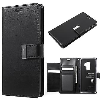 Mercury GOOSPERY Rich Diary pour Samsung Galaxy S9 Plus-Black