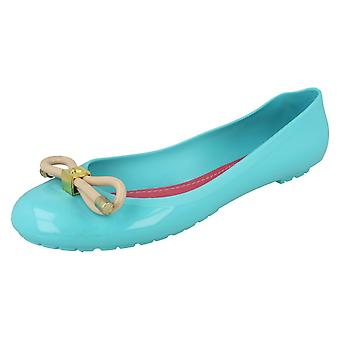 Ladies Spot On Flat Jelly Ballerina Shoe with Bow Trim