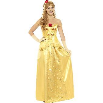 Золотая принцесса костюм, золото, длинное платье, перчатки & оголовье