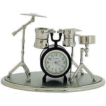 Miniature Drum Kit Novelty Silvertone & Black Coating Collectors Clock 9078