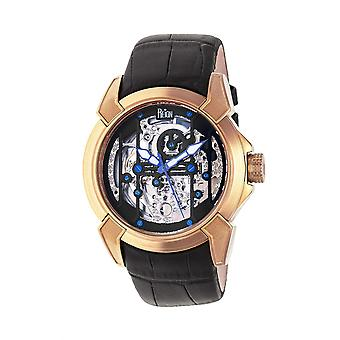 Reign Optimus Automatic Skeleton Leather-Band Watch - Rose Gold/Black