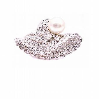 victorian Cap Brooch Fully Embedded with Crystals & Confetti Pearls