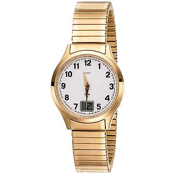 JOBO ladies wristwatch radio radio clock stainless steel gold plated cable date ladies watch