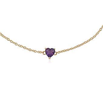 Classic Heart Amethyst Claw Set Single Stone Heart Bracelet in 9ct Yellow Gold 135L0216019