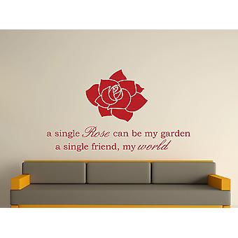 A Single Rose Wall Art Sticker - Dark Red