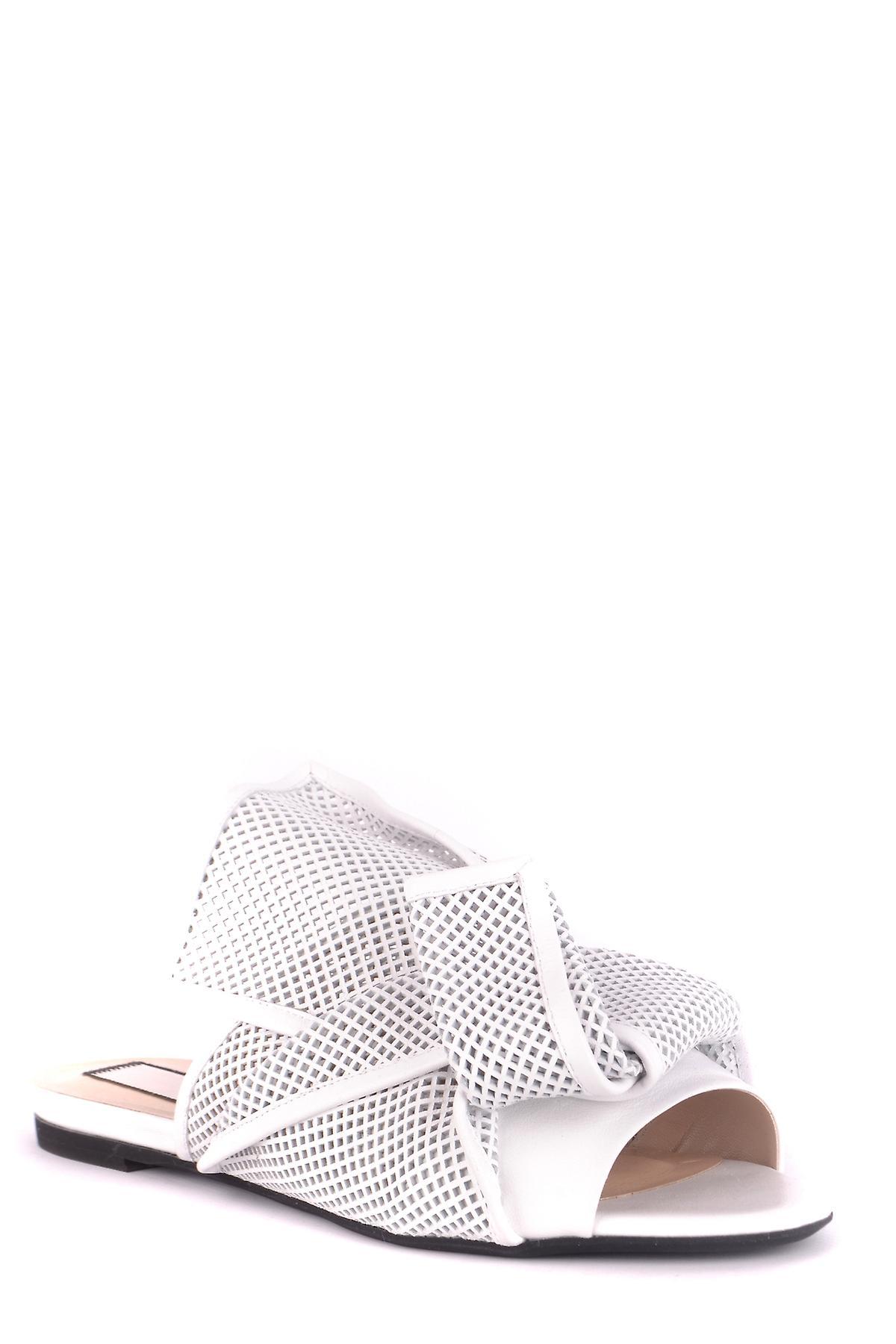 N 21 Ezbc100004 Femmes-apos;s White Leather Slippers 22P5nY