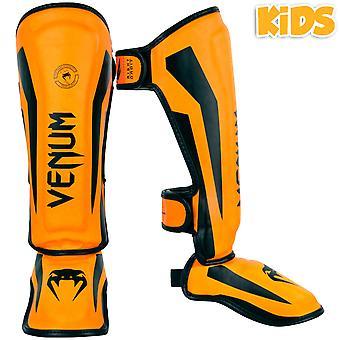 Venum Kids Elite Shinguards - Neo Orange
