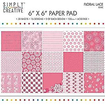 Simply Creative FSC Paper Pad 6x6 Inch Floral Lace-Pink