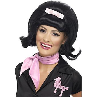 60s parykk svart med båndet rosa 50 60 damer