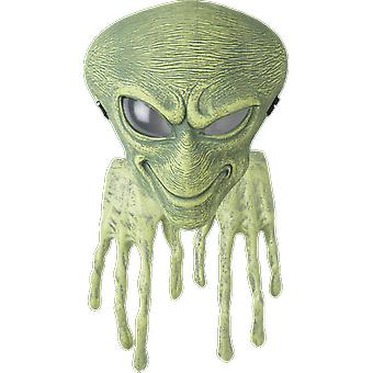Adult Green Alien Mask & Hands Space UFO Halloween Fancy Dress Costume Accessory