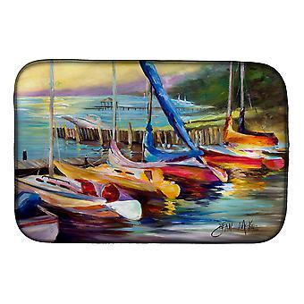 Carolines trea Sures JMK1036DDM segel båtar på Sunset Dish tork matta