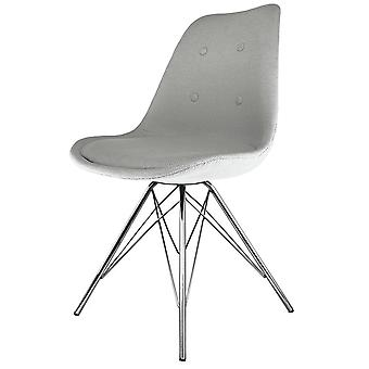 Fusion Living Eiffel Inspired Light Grey Fabric Dining Chair With Chrome Metal Legs