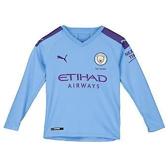 2019-2020 Manchester City Puma Home Long Sleeve Shirt (Kids)