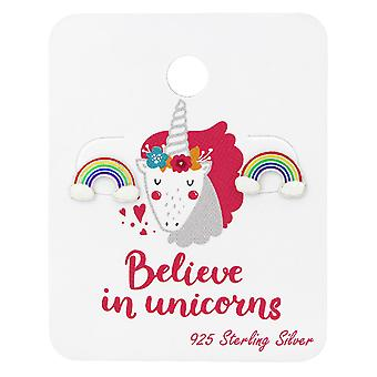 Arco iris zarcillos en unicornio tarjeta - juegos de plata de ley 925 - W34108X